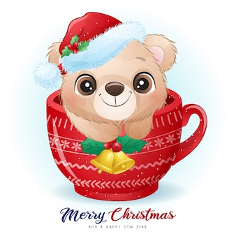 Cute doodle bear for christmas day with watercolor illustration