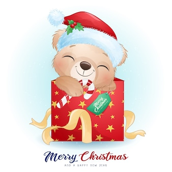水彩イラストとクリスマスの日のかわいい落書きクマ