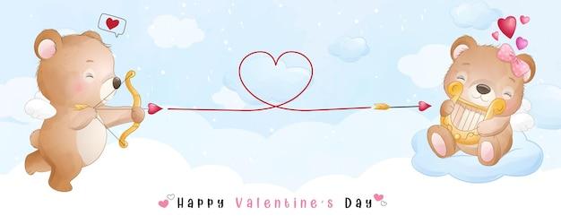 발렌타인 데이 컬렉션 귀여운 낙서 곰