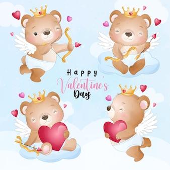 Милый медведь каракули для коллекции на день святого валентина