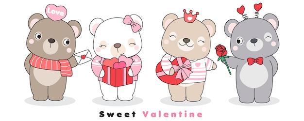 발렌타인 데이를위한 귀여운 낙서 곰