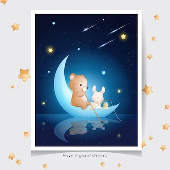 Cute doodle bear and little bunny with watercolor illustration Premium Vector