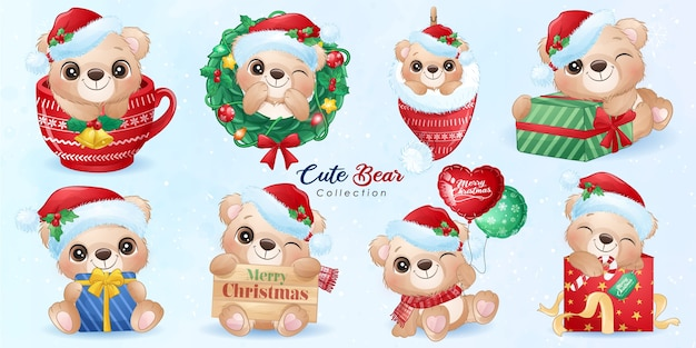 Cute doodle bear set for christmas day with watercolor illustration