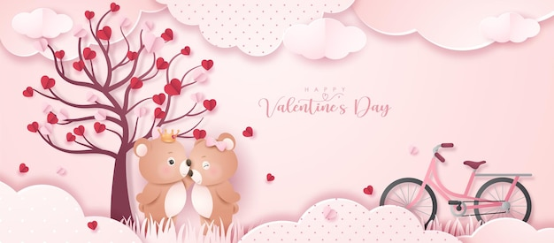 Cute doodle bear for valentine's day in paper style