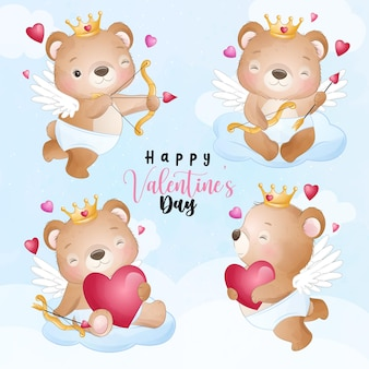 Cute doodle bear for valentines day collection