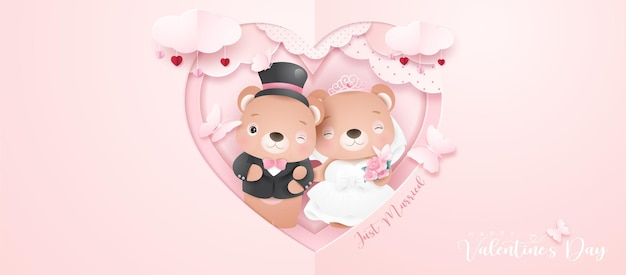 Cute doodle bear for valentines day in paper style banner