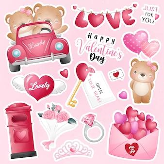 발렌타인 데이 컬렉션에 대 한 요소와 귀여운 낙서 곰
