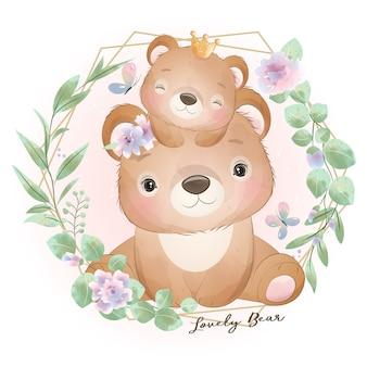 Милый медведь каракули с цветочной иллюстрацией