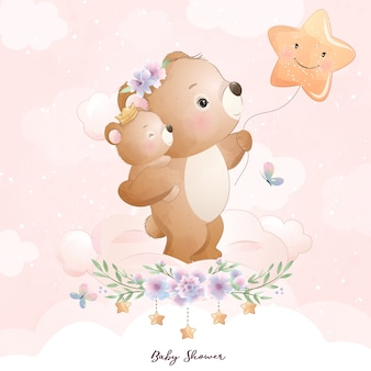 Cute doodle bear with floral illustration
