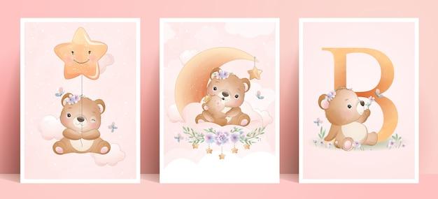 Милый медведь каракули с цветочным набором иллюстрации