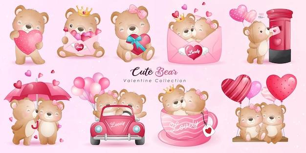 포즈 컬렉션 귀여운 낙서 곰