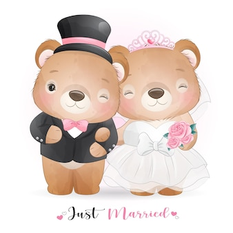 Cute doodle bear with wedding clothes,  just married
