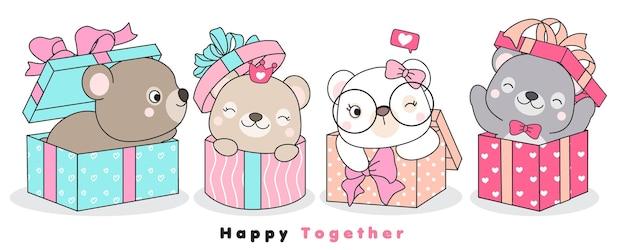 Симпатичные каракули медведи, сидящие в подарочной коробке