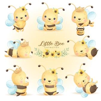 Pose dell'ape di doodle sveglio con la raccolta floreale