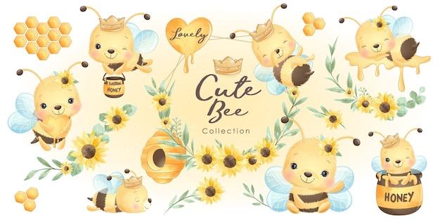 Симпатичная пчела каракули с цветочной коллекцией