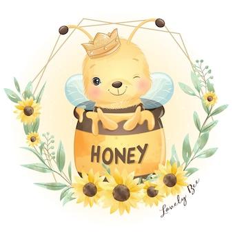 Ape carino doodle con illustrazione floreale