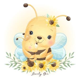 Симпатичная пчела каракули с цветочными иллюстрациями