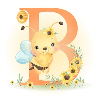 꽃 일러스트와 함께 귀여운 낙서 꿀벌