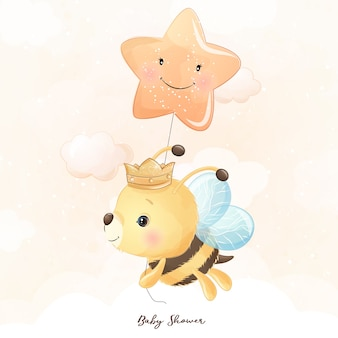 Cute doodle bee with floral illustration
