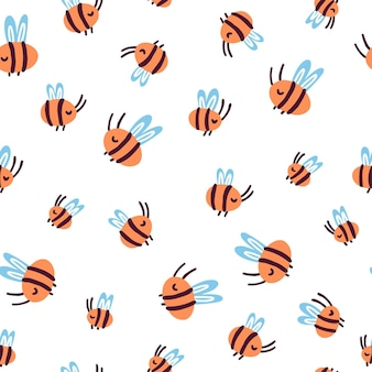Cute doodle bees geometric seamless pattern on an isolated on white background