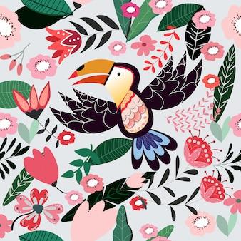 Cute doodle bird seamless pattern
