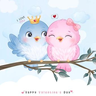 발렌타인 데이 귀여운 낙서 새