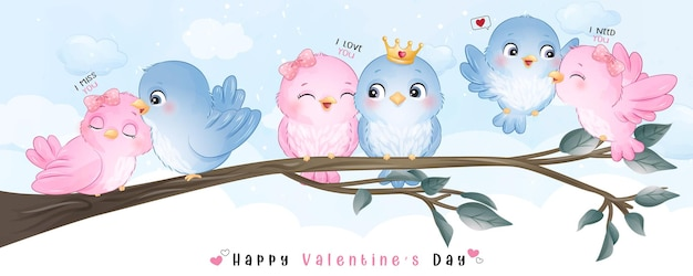 Cute doodle birds for valentine's day