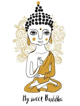 Cute doodle buddha. geometric element hand drawn.