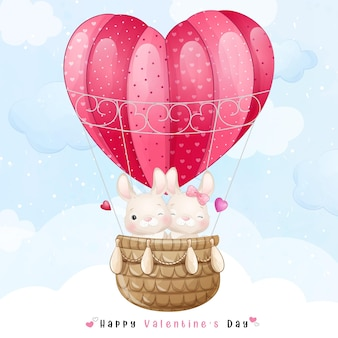 Cute doodle bunny flying with air balloon for valentines day