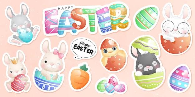 행복한 부활절 날을위한 귀여운 낙서 토끼 스티커