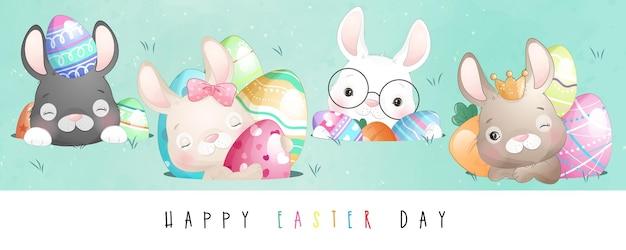 행복 한 부활절 날 귀여운 낙서 토끼