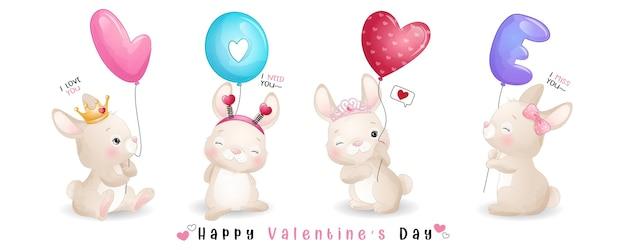 발렌타인 데이 컬렉션을위한 귀여운 낙서 토끼