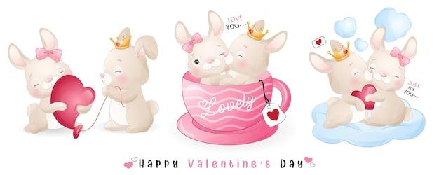 Милый кролик каракули для коллекции на день святого валентина