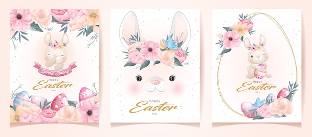 Cute doodle bunny for happy easter day