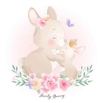 Cute doodle bunny with floral illustration