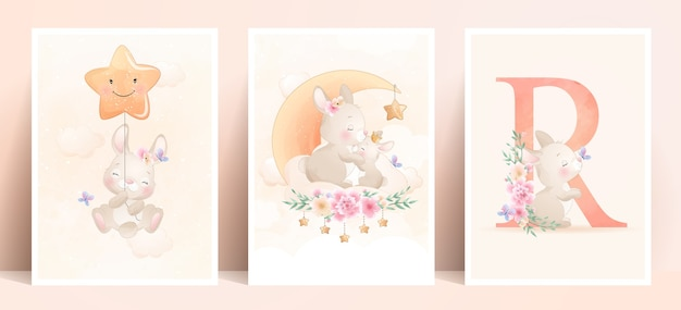 Cute doodle bunny with floral set illustration