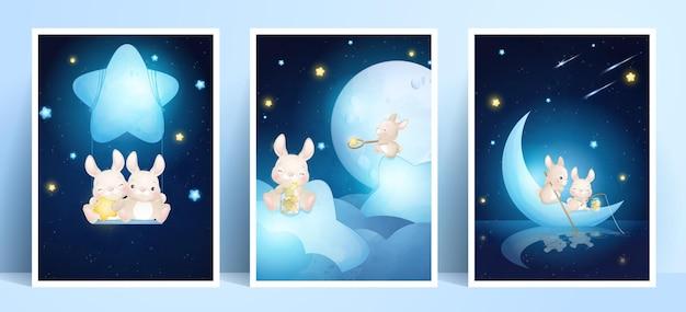 Милый кролик каракули с коллекцией рамок