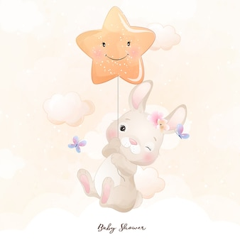 Cute doodle bunny with star illustration