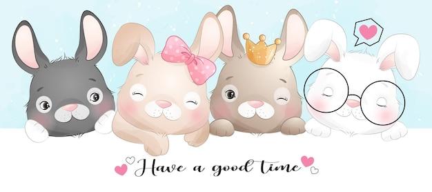 수채화와 귀여운 낙서 토끼
