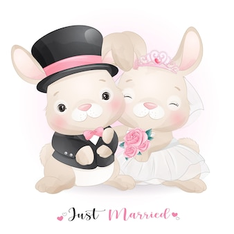 Cute doodle bunny with wedding clothes,  just married