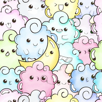 Cute doodle cartoon seamless pattern