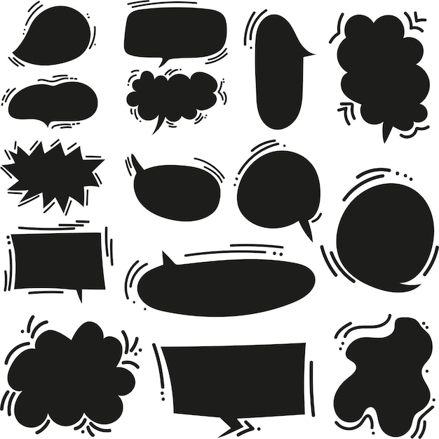 Cute doodle cartoon vector speech bubbles big set in comics style