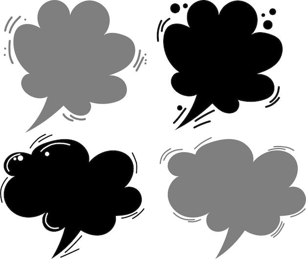 Симпатичные каракули мультфильм вектор речи пузыри большой набор в стиле комиксов