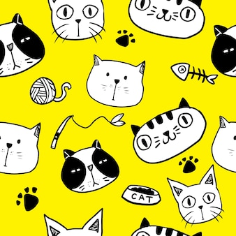 Cute doodle cat seamless pattern