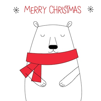 Cute doodle christmas bear with red and white color
