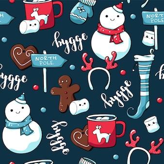 Cute doodle christmas seamless pattern in scandinavian style