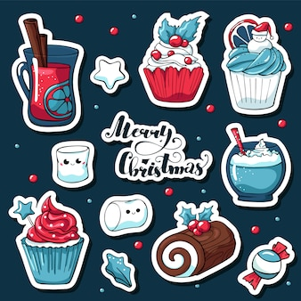 Cute doodle christmas stickers in cartoon style with lettering