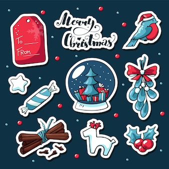 Cute doodle christmas stickers in cartoon style