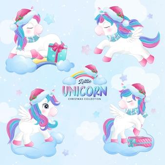 Unicorno di natale carino doodle impostato nello stile dell'acquerello