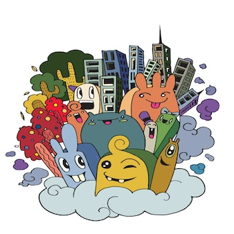 Cute doodle city,doodle drawing style